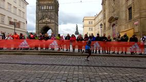 Prague, Czech Republic May 5, 2019 - Spectators and fans applaud the runners at the Prague Marathon