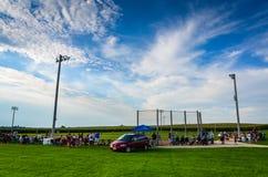 Spectators at Field of Dreams Movie Site - Dyersville, Iowa Royalty Free Stock Photos