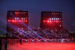 Spectators on grandstand at Bahrain Royalty Free Stock Photos