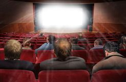 Spectators In Hall Of Cinema With Movie Stock Photos