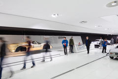 Spectators of Interior Exhibits of Porsche Museum Stock Image