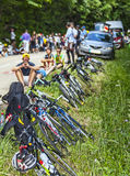 Spectators of Le Tour de France. Col du Granier,France-July 13th, 2012: Row of bicycles and spectators on the roadside waiting for the cyclists on the climbing Royalty Free Stock Image