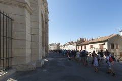 Spectators line at Arles Amphitheatre, France Stock Photo