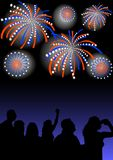 Spectators look at the fireworks. Vector drawing colorful firework on background of dark sky Stock Image