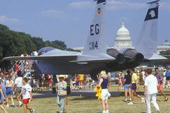 Spectators Looking at Jet Fighter on Display, Washington, D.C. Royalty Free Stock Photo