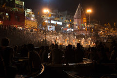 Spectators at the Night Puja. Ghats at the holy river of Ganga in Varanasi, Uttar Pradesh, India Stock Photography