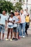 Spectators of Obama motorcade in Havana 2 Royalty Free Stock Photos