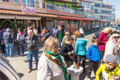 Spectators at a Russian holiday in Pomorie, Bulgaria Royalty Free Stock Photo