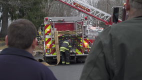 Spectators at the Scene of a House Fire (2 of 2) stock video