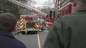 Spectators at the Scene of a House Fire (1 of 2) stock video