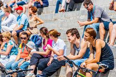Spectators of solar boats competitions Stock Images