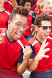 Spectators In Team Colors Watching Sports Event Stock Photography