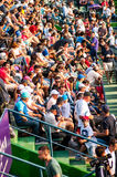 Spectators during a tennis match at Bucharest Open WTA Stock Photos