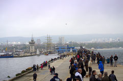 Spectators Varna port regatta Royalty Free Stock Image