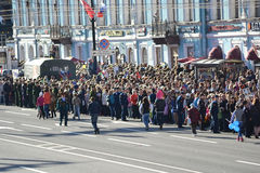 Spectators Victory Parade on Nevsky Prospect. Stock Photo
