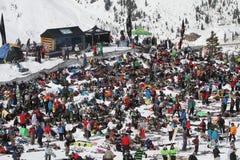Spectators watch IFSA Freeskiing Finals Stock Image