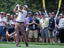 Spectators watch Phil Mickelson