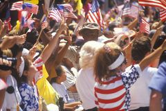 Spectators Waving American Flags Stock Photography