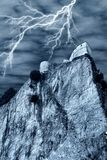 Spectral castle with lightning Royalty Free Stock Image