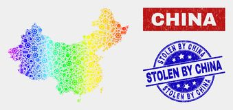Spectral Component China Map and Scratched Stolen by China Stamp Seals. Factory China map and blue Stolen by China distress seal stamp. Colorful gradiented stock illustration