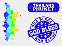 Spectrum Mosaic Phuket Map and Distress God Bless Seal. Spectral dotted Phuket map and seal stamps. Blue rounded God Bless distress seal stamp. Gradient spectral vector illustration