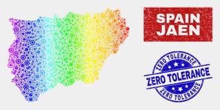 Spectral Industrial Jaen Spanish Province Map and Grunge Zero Tolerance Seals. Element Jaen Spanish Province map and blue Zero Tolerance grunge seal. Spectral stock illustration