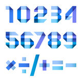 Spectral letters folded of paper blue ribbon - Arabic numerals. Spectral numbers folded of paper blue ribbon - Arabic numerals Royalty Free Stock Images