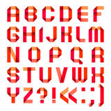 Spectral letters folded of paper. Ribbon-red Stock Images