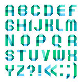 Spectral letters folded of paper ribbon-turquoise. Roman alphabet Stock Images