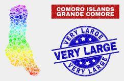 Spectral Production Grande Comore Island Map and Grunge Very Large Seals. Service Grande Comore Island map and blue Very Large grunge watermark. Colorful stock illustration