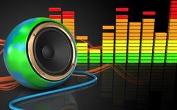 spectre audio d'audio du spectre 3d Images libres de droits