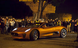 007 Spectre (Craig & Bellucci 2015) Supercar on the set. Rome, Italy. A supercar on the set of the new film 007 (2015). At the base of Castel SantAngelo in Rome Royalty Free Stock Photography