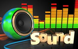 spectre d'audio de haut-parleur de globe de la terre 3d Images stock