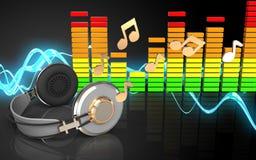 spectre d'audio des écouteurs 3d Images stock