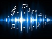 Spectre de couleur bleu de notes musicales illustration libre de droits