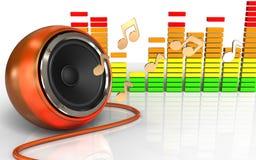 spectre orange d'audio du haut-parleur 3d Photographie stock