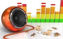 spectre orange d'audio du haut-parleur 3d Image stock