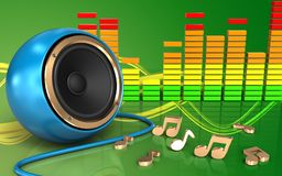 spectre sain bleu d'audio du haut-parleur 3d Photos stock