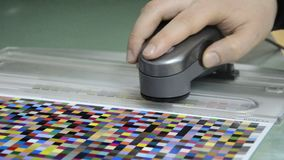 Spectrophotometer measurement of color patches Royalty Free Stock Image
