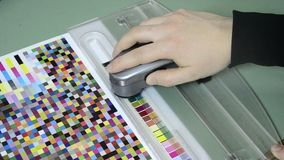 Spectrophotometer measurement of color patches Stock Image