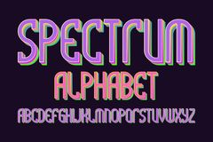 Spectrum alphabet. Iridescent colorful font. Isolated english alphabet.  vector illustration