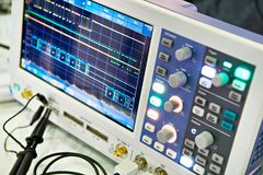 Spectrum analyzer. In the laboratory Stock Photo