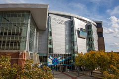 Spectrum Center in Charlotte. CHARLOTTE, NC - November 25, 2016:  The Spectrum Center, home of the Charlotte Hornets pro basketball team in the National Royalty Free Stock Images