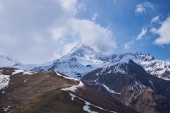 Mount Kazbek - A dormant stratovolcano in Caucasus. A dormant stratovolcano in Caucasus. This is the third highest peak in Georgia 5,033 m high stock image