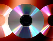 Spectrum Of Compact Discs. Three compact discs in spectrum of colours Stock Images
