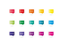 Spectrum dialog clouds icons. Collection of colorful rainbow spectrum dialog clouds icons isolated on white background vector graphic illustration template Royalty Free Stock Photography
