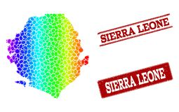 Dotted Spectrum Map of Sierra Leone and Grunge Stamp Seals royalty free illustration