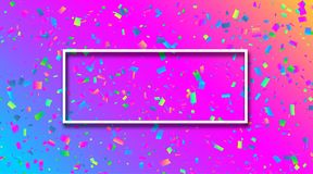 Spectrum festive background with colorful confetti. Spectrum festive background with white frame and colorful paper confetti. Vector illustration.r Royalty Free Stock Photo