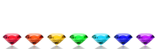 Spectrum Gems. A row of colorful gems Royalty Free Stock Image
