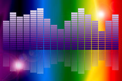 Spectrum Graphic Equalizer. An image showing a rainbow of colours or colors spectrum with a white star burst and lines highlighting the effect of a concept for Royalty Free Stock Photography